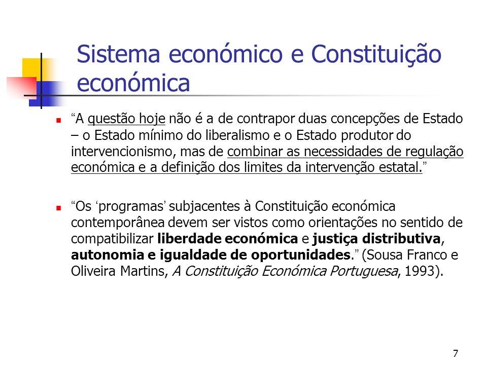 7 Sistema económico e Constituição económica A questão hoje não é a de contrapor duas concepções de Estado – o Estado mínimo do liberalismo e o Estado