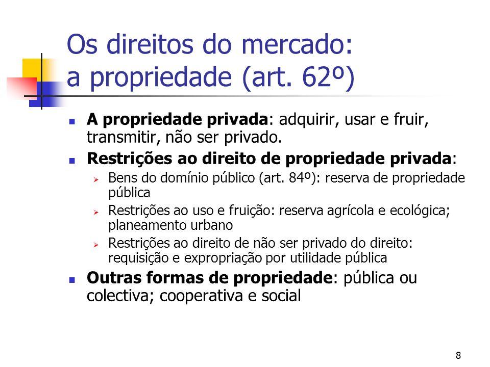 8 Os direitos do mercado: a propriedade (art. 62º) A propriedade privada: adquirir, usar e fruir, transmitir, não ser privado. Restrições ao direito d