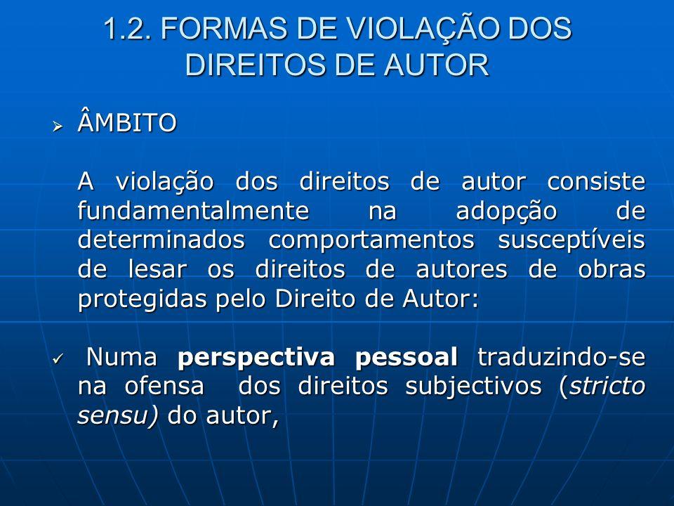 1.2. FORMAS DE VIOLAÇÃO DOS DIREITOS DE AUTOR ÂMBITO ÂMBITO A violação dos direitos de autor consiste fundamentalmente na adopção de determinados comp