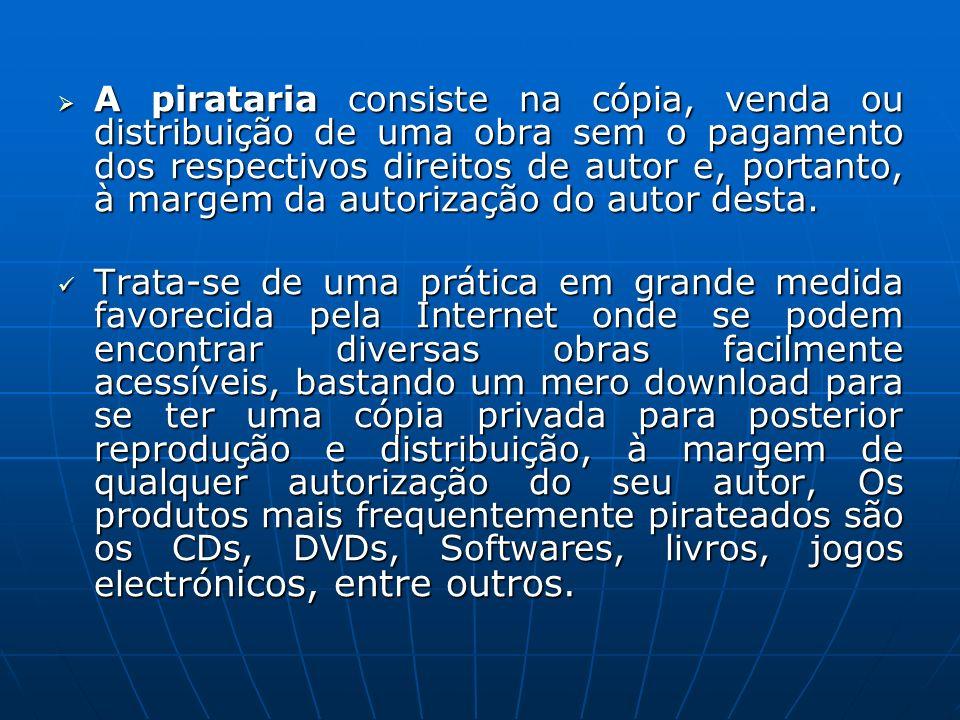 A pirataria consiste na cópia, venda ou distribuição de uma obra sem o pagamento dos respectivos direitos de autor e, portanto, à margem da autorizaçã