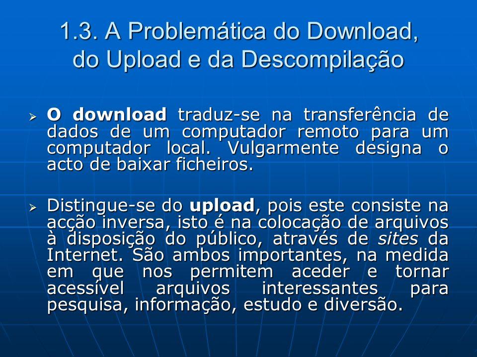 1.3. A Problemática do Download, do Upload e da Descompilação O download traduz-se na transferência de dados de um computador remoto para um computado