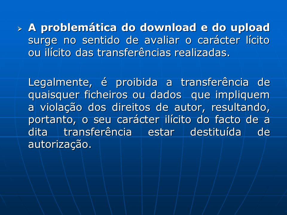 A problemática do download e do upload surge no sentido de avaliar o carácter lícito ou ilícito das transferências realizadas. A problemática do downl