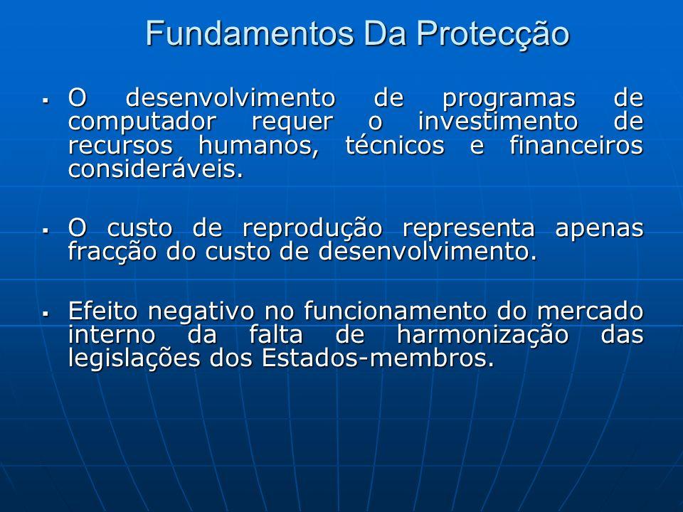 Fundamentos Da Protecção O desenvolvimento de programas de computador requer o investimento de recursos humanos, técnicos e financeiros consideráveis.