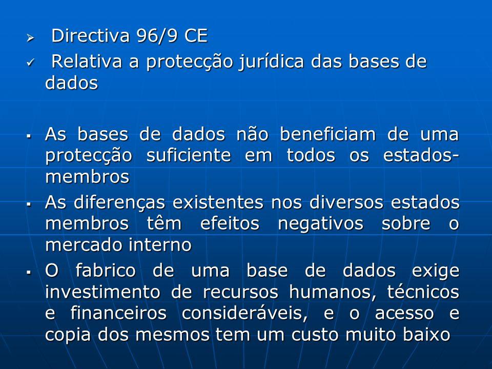 Directiva 96/9 CE Directiva 96/9 CE Relativa a protecção jurídica das bases de dados Relativa a protecção jurídica das bases de dados As bases de dado