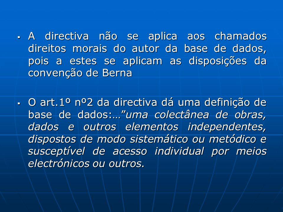 A directiva não se aplica aos chamados direitos morais do autor da base de dados, pois a estes se aplicam as disposições da convenção de Berna A direc