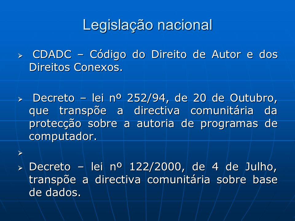 Legislação nacional CDADC – Código do Direito de Autor e dos Direitos Conexos. CDADC – Código do Direito de Autor e dos Direitos Conexos. Decreto – le