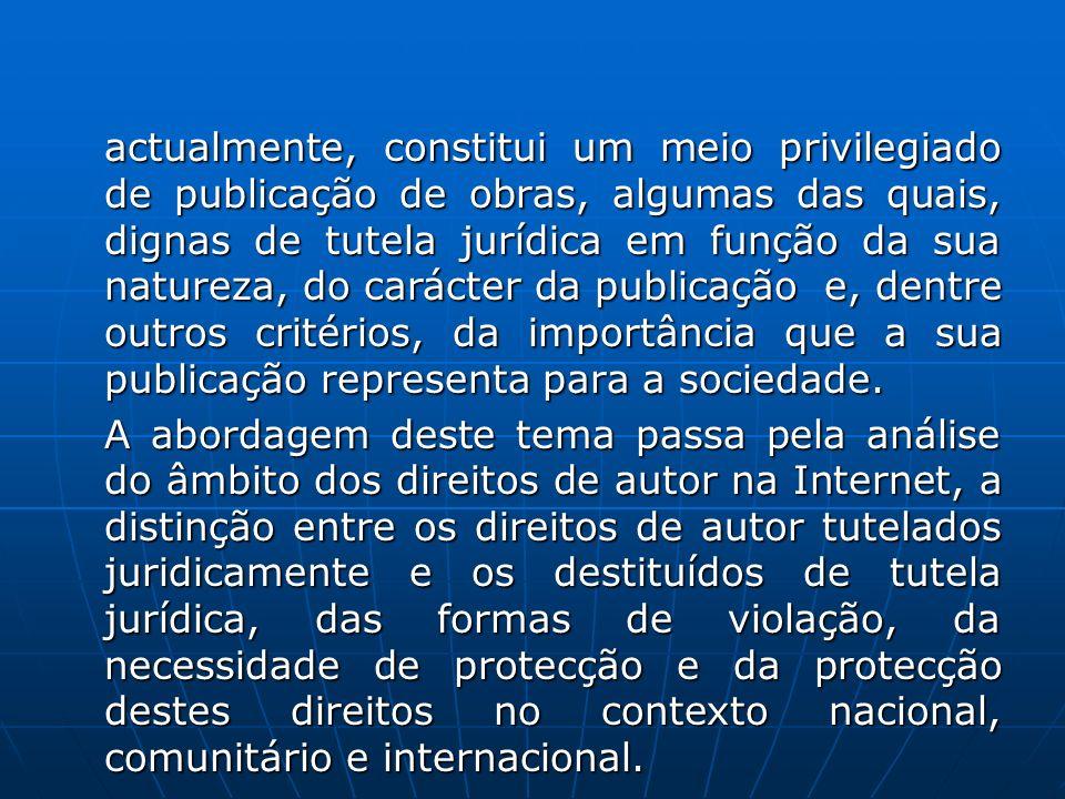 LIMITE DA PROTECÇÃO LIMITE DA PROTECÇÃO Em virtude da consagração legal do direito à informação, a protecção dos direitos de autor não deve ser excessiva a ponto de proibir o acesso a determinados conteúdos de interesse fundamental ou de os tornar inacessíveis à generalidade das pessoas.