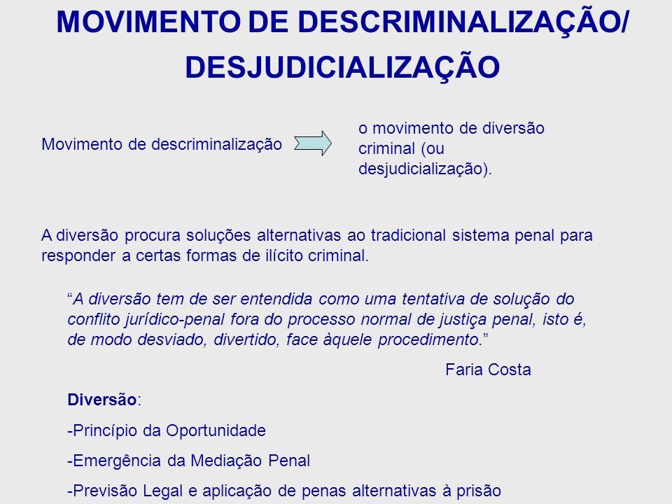 Movimento de descriminalização A diversão procura soluções alternativas ao tradicional sistema penal para responder a certas formas de ilícito crimina