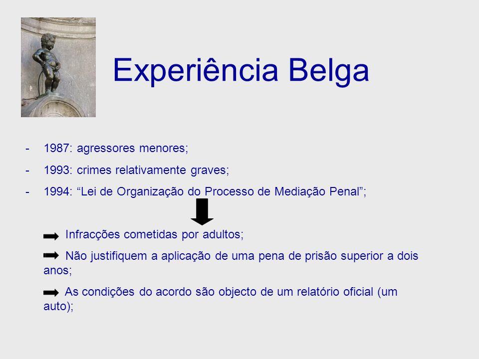 Experiência Belga -1987: agressores menores; -1993: crimes relativamente graves; -1994: Lei de Organização do Processo de Mediação Penal; Infracções c