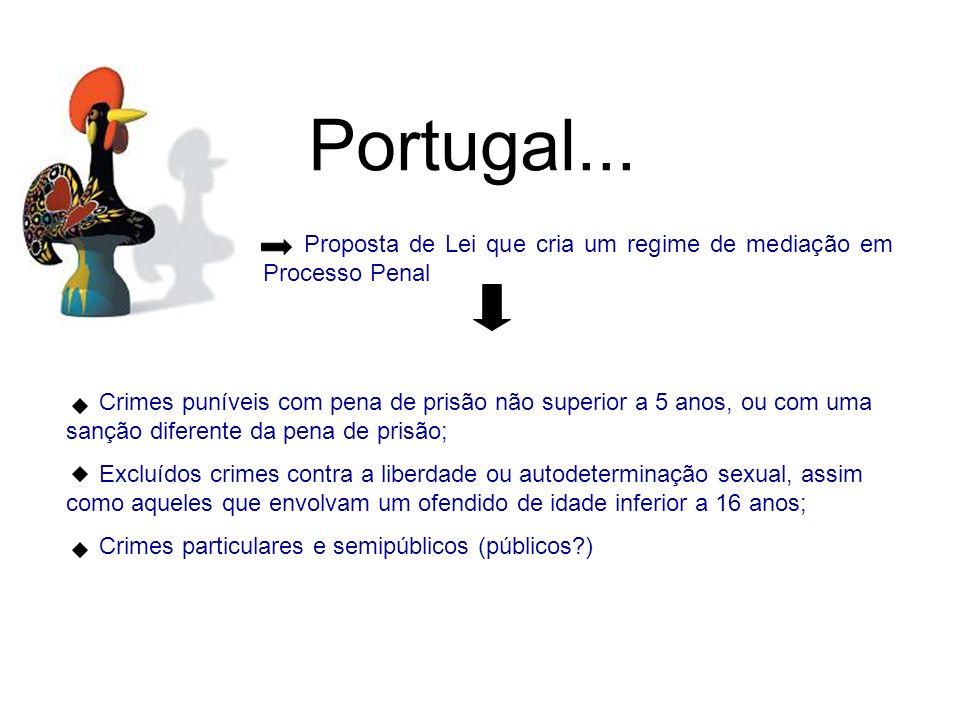 Portugal... Proposta de Lei que cria um regime de mediação em Processo Penal Crimes puníveis com pena de prisão não superior a 5 anos, ou com uma sanç
