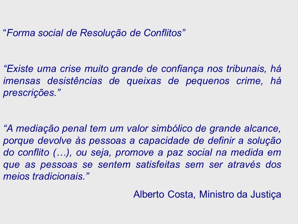 Forma social de Resolução de Conflitos Existe uma crise muito grande de confiança nos tribunais, há imensas desistências de queixas de pequenos crime,