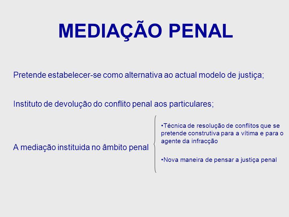 MEDIAÇÃO PENAL Pretende estabelecer-se como alternativa ao actual modelo de justiça; Instituto de devolução do conflito penal aos particulares; A medi
