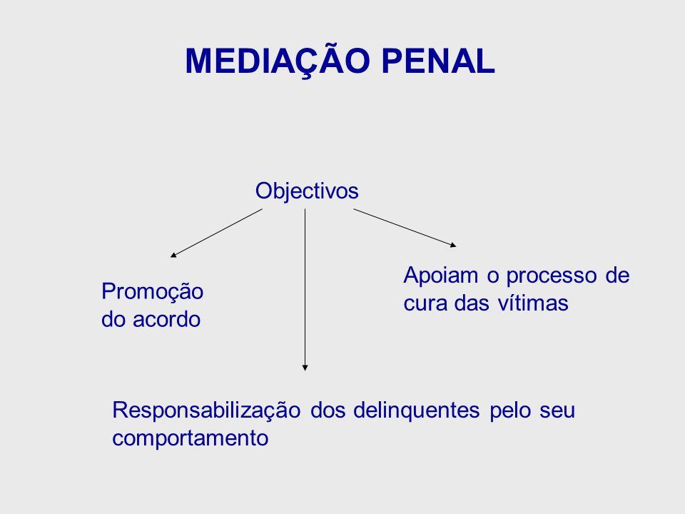 MEDIAÇÃO PENAL Objectivos Responsabilização dos delinquentes pelo seu comportamento Promoção do acordo Apoiam o processo de cura das vítimas