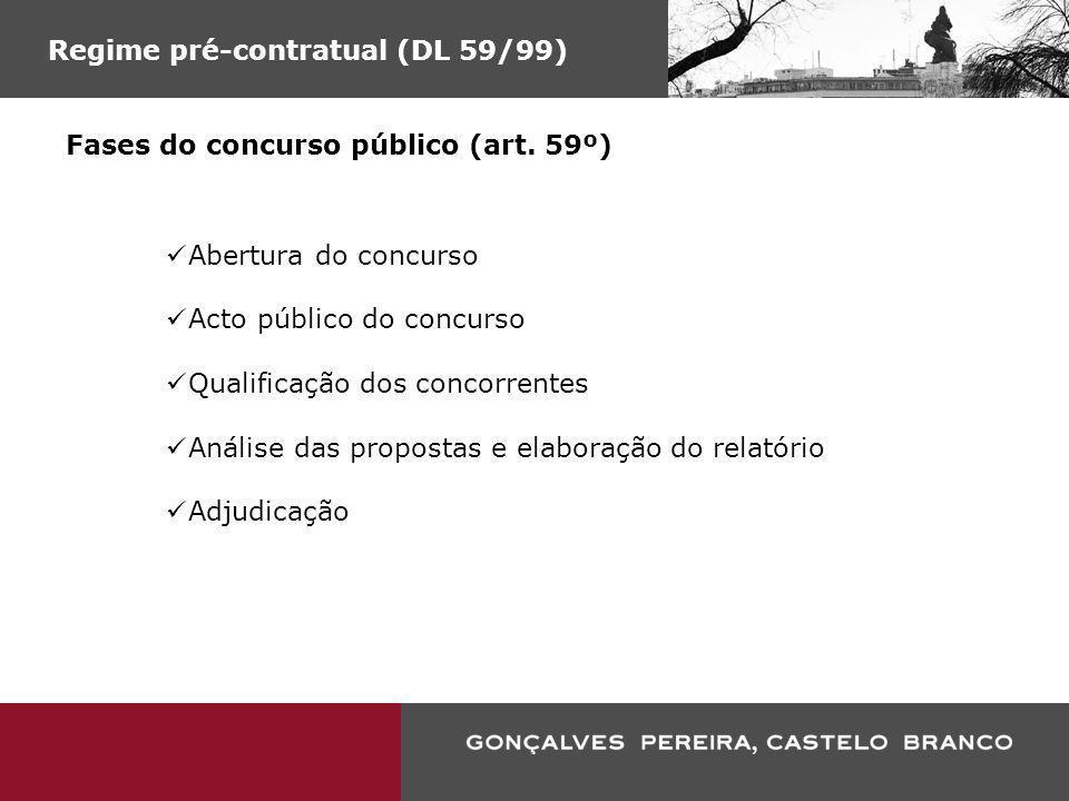 Regime pré-contratual (DL 59/99) Fases do concurso público (art. 59º) Abertura do concurso Acto público do concurso Qualificação dos concorrentes Anál