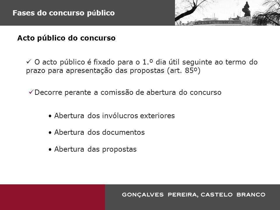 Fases do concurso p ú blico Acto público do concurso O acto público é fixado para o 1.º dia útil seguinte ao termo do prazo para apresentação das prop