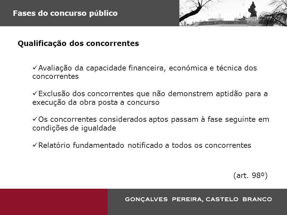 Fases do concurso p ú blico Qualificação dos concorrentes Avaliação da capacidade financeira, económica e técnica dos concorrentes Exclusão dos concor