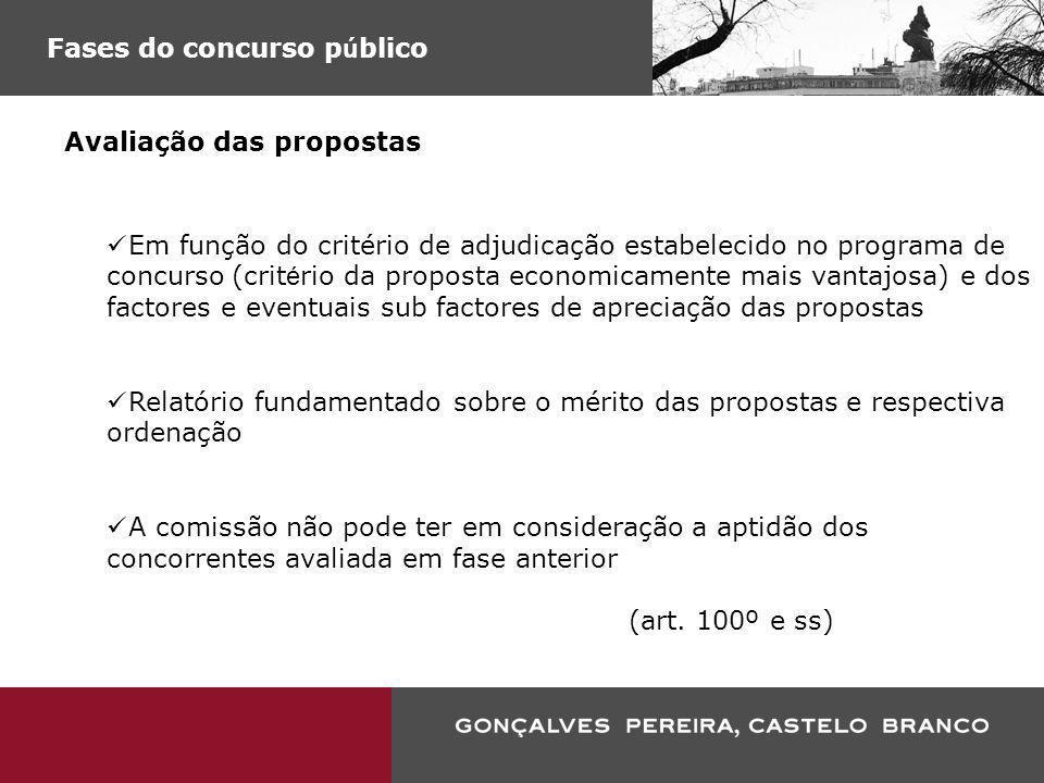 Fases do concurso p ú blico Avaliação das propostas Em função do critério de adjudicação estabelecido no programa de concurso (crit é rio da proposta