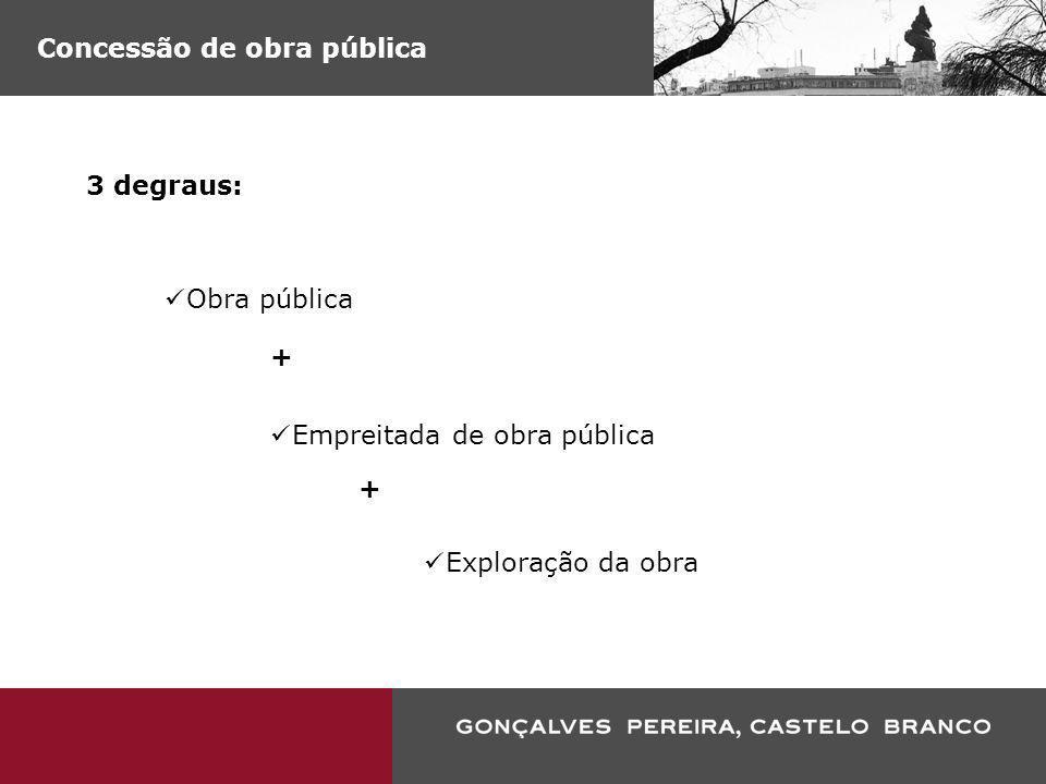 Concessão de obra pública (…) o contrato administrativo que, apresentando as mesmas características definidas no número anterior [empreitada de obra pública], tenha como contrapartida o direito de exploração da obra, acompanhado ou não do pagamento de um preço (artigo 2.º, n.º 3, do RJEOP)