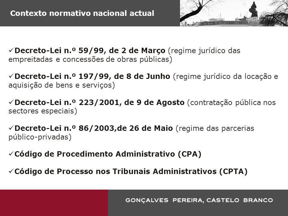 Contexto normativo nacional iminente Código dos Contratos Públicos Decreto-Lei n.º 86/2003,de 26 de Maio (regime das parcerias público-privadas) Código de Procedimento Administrativo (CPA) Código de Processo nos Tribunais Administrativos (CPTA)