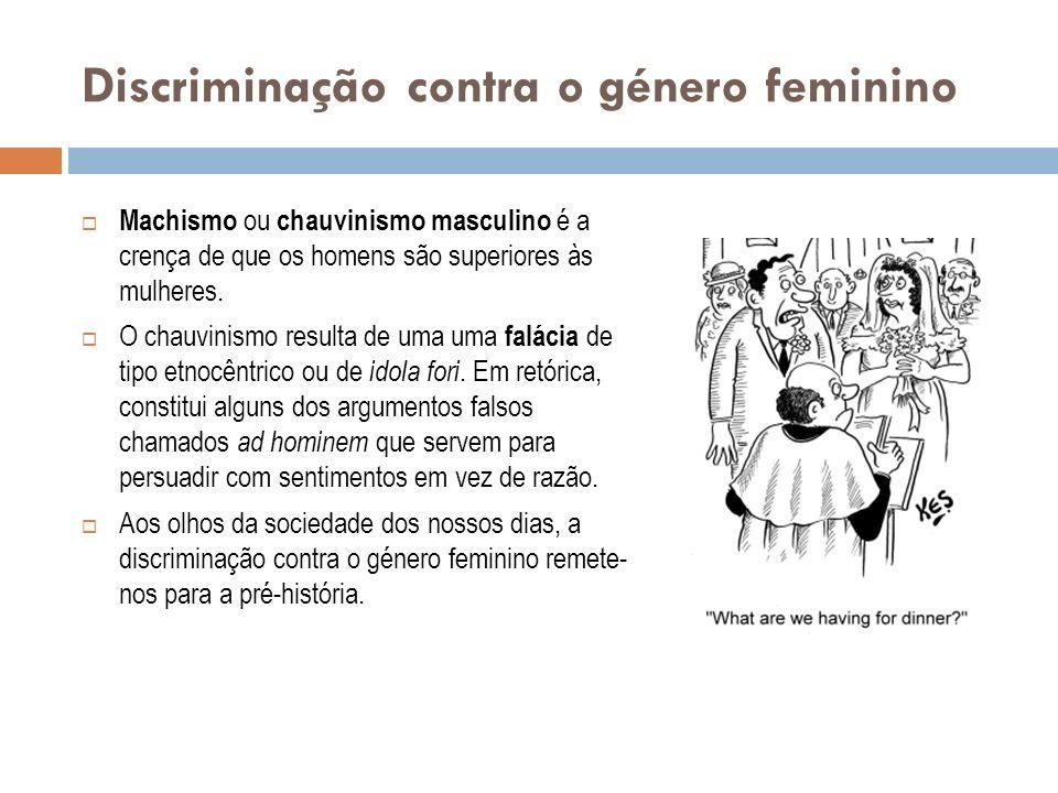 Discriminação contra o género feminino Machismo ou chauvinismo masculino é a crença de que os homens são superiores às mulheres. O chauvinismo resulta