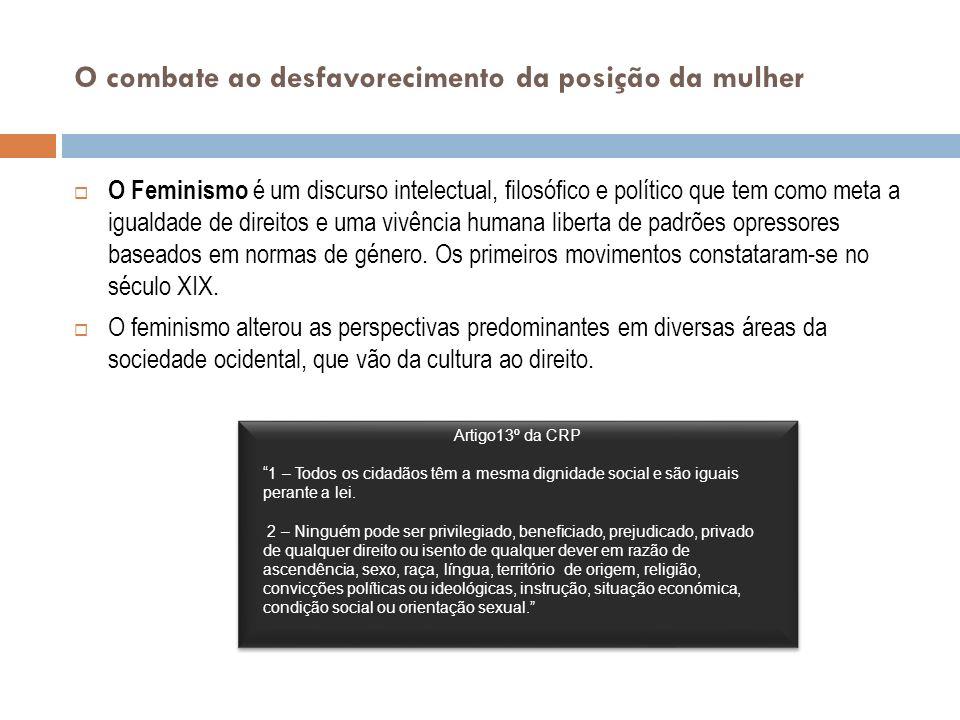 Os movimentos feministas Várias perspectivas feministas Feminismo Liberal – baseado na ideia de igualdade de oportunidades entre géneros; discriminação positiva (tratamento desigual dos formalmente iguais para anular desvantagens).