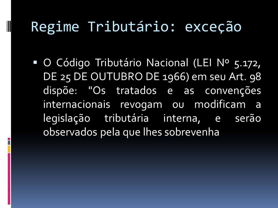 Regime Tributário: exceção O Código Tributário Nacional (LEI Nº 5.172, DE 25 DE OUTUBRO DE 1966) em seu Art. 98 dispõe: