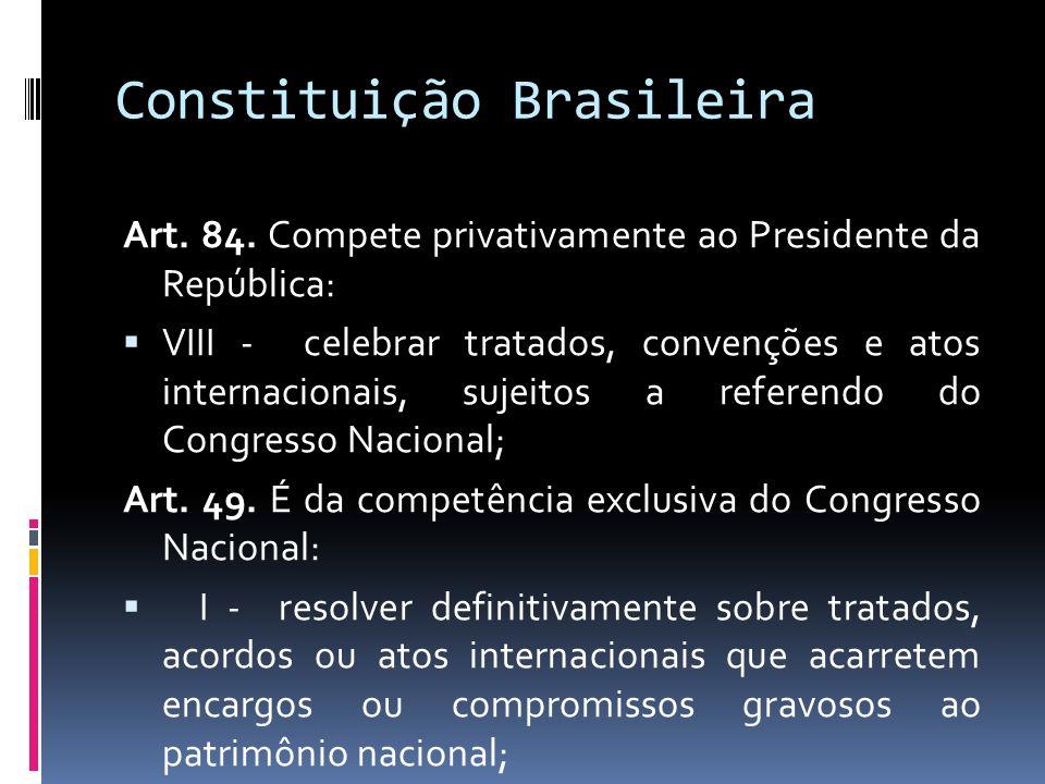 Constituição Brasileira Art. 84. Compete privativamente ao Presidente da República: VIII - celebrar tratados, convenções e atos internacionais, sujeit