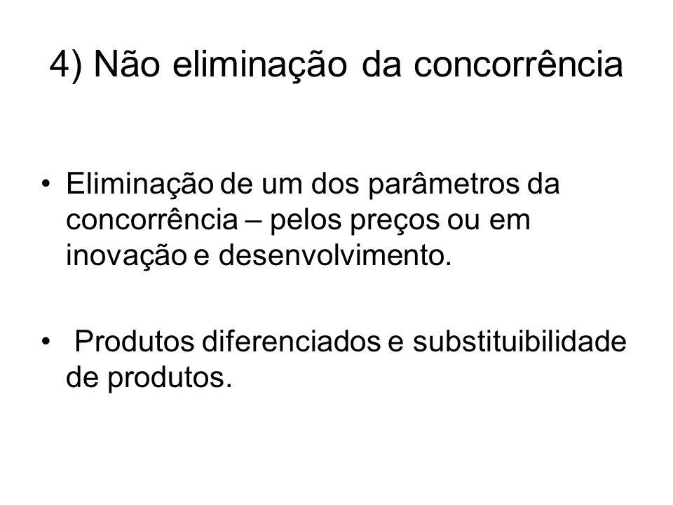 4) Não eliminação da concorrência Eliminação de um dos parâmetros da concorrência – pelos preços ou em inovação e desenvolvimento.