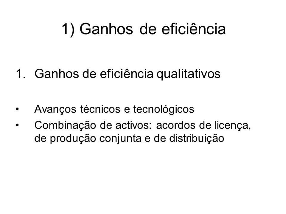 1) Ganhos de eficiência 1.Ganhos de eficiência qualitativos Avanços técnicos e tecnológicos Combinação de activos: acordos de licença, de produção conjunta e de distribuição