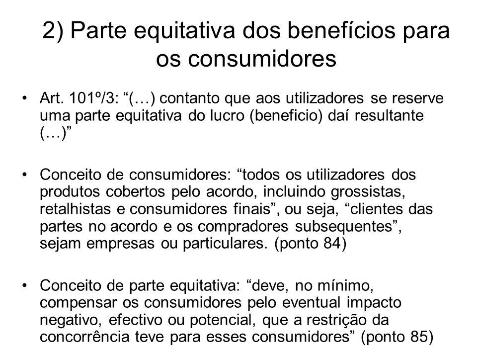2) Parte equitativa dos benefícios para os consumidores Art.