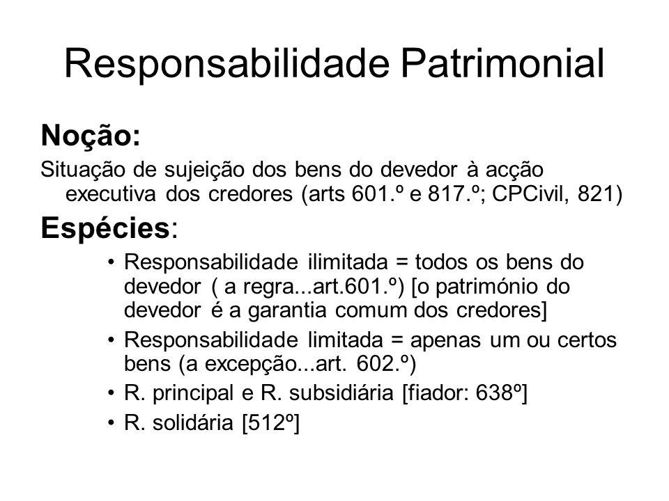 Responsabilidade Patrimonial Noção: Situação de sujeição dos bens do devedor à acção executiva dos credores (arts 601.º e 817.º; CPCivil, 821) Espécie