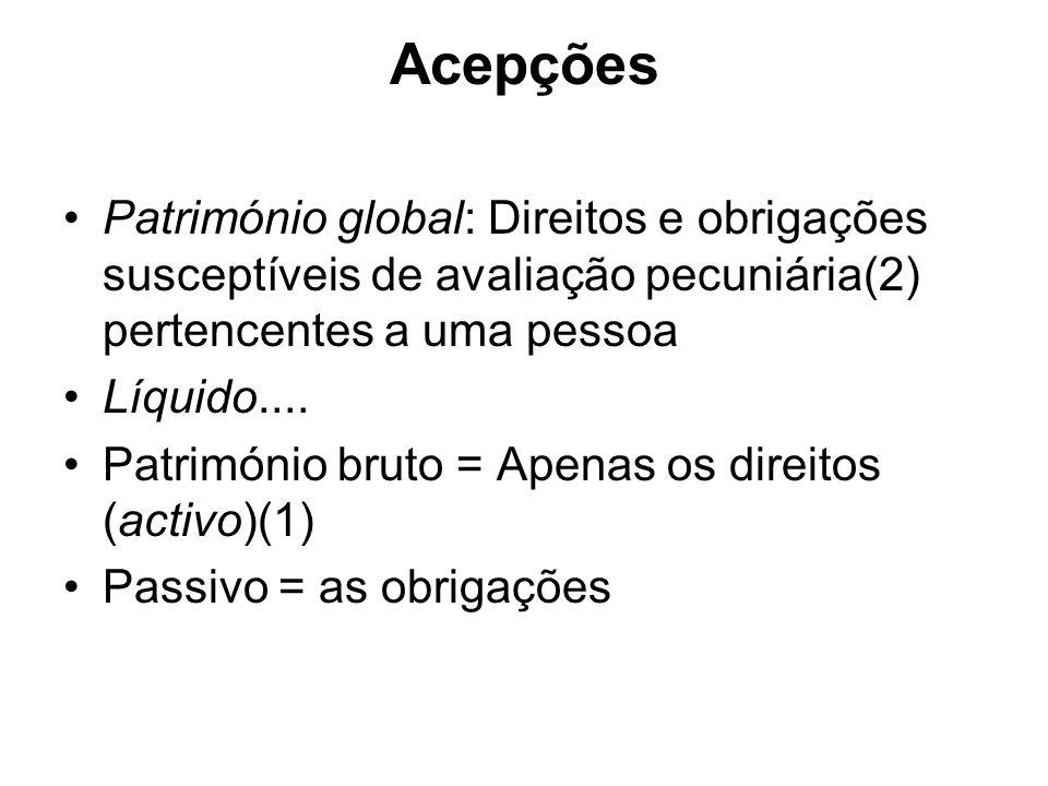 Acepções Património global: Direitos e obrigações susceptíveis de avaliação pecuniária(2) pertencentes a uma pessoa Líquido.... Património bruto = Ape