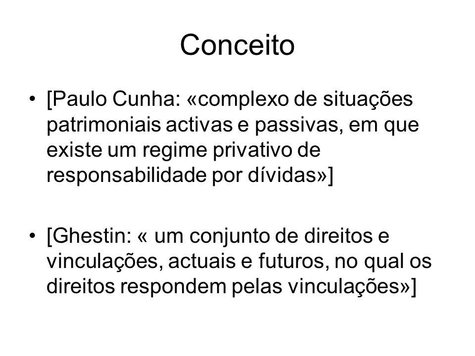 Conceito [Paulo Cunha: «complexo de situações patrimoniais activas e passivas, em que existe um regime privativo de responsabilidade por dívidas»] [Gh