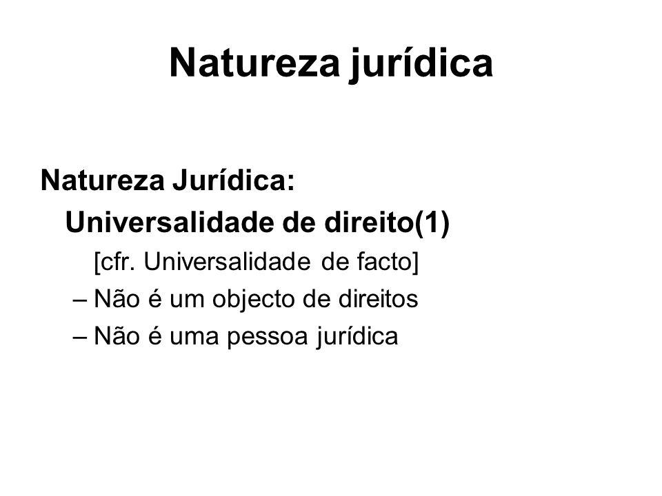 Natureza jurídica Natureza Jurídica: Universalidade de direito(1) [cfr. Universalidade de facto] –Não é um objecto de direitos –Não é uma pessoa juríd