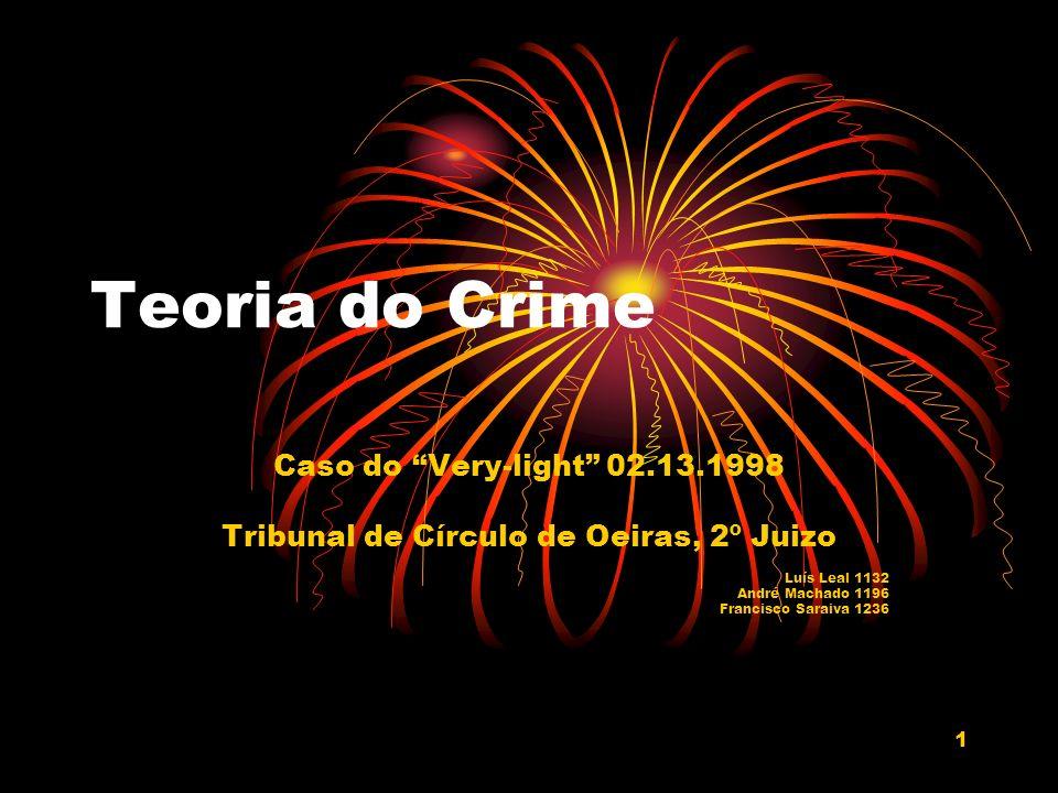 1 Teoria do Crime Caso do Very-light 02.13.1998 Tribunal de Círculo de Oeiras, 2º Juizo Luís Leal 1132 André Machado 1196 Francisco Saraiva 1236