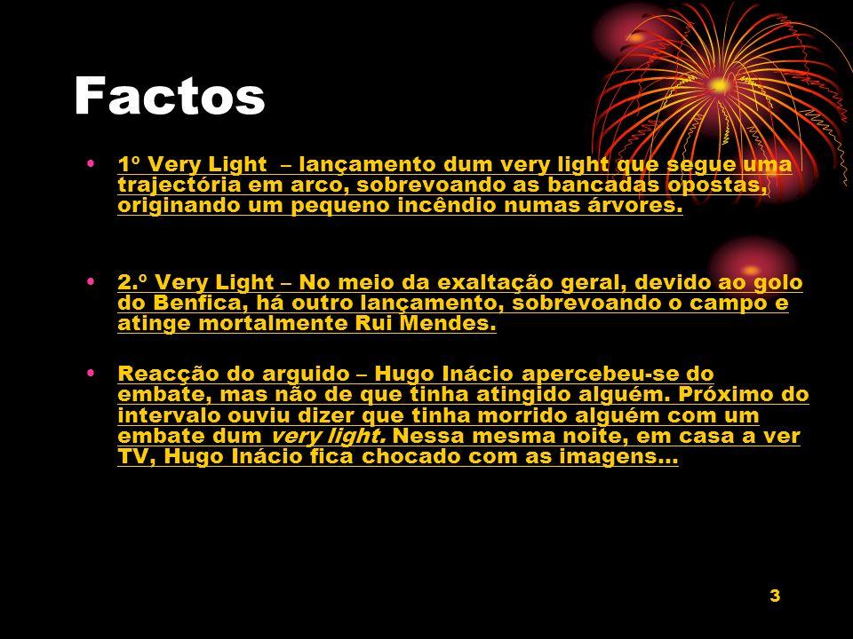 3 Factos 1º Very Light – lançamento dum very light que segue uma trajectória em arco, sobrevoando as bancadas opostas, originando um pequeno incêndio