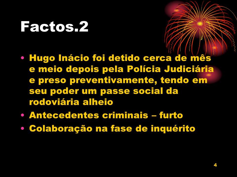 4 Factos.2 Hugo Inácio foi detido cerca de mês e meio depois pela Polícia Judiciária e preso preventivamente, tendo em seu poder um passe social da ro