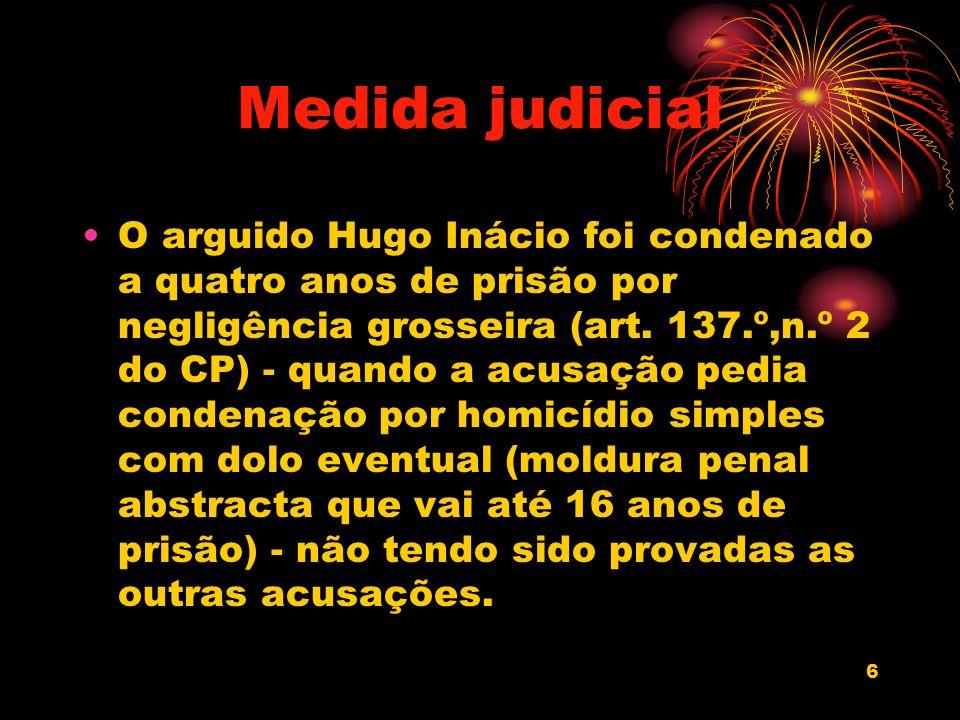 6 Medida judicial O arguido Hugo Inácio foi condenado a quatro anos de prisão por negligência grosseira (art. 137.º,n.º 2 do CP) - quando a acusação p
