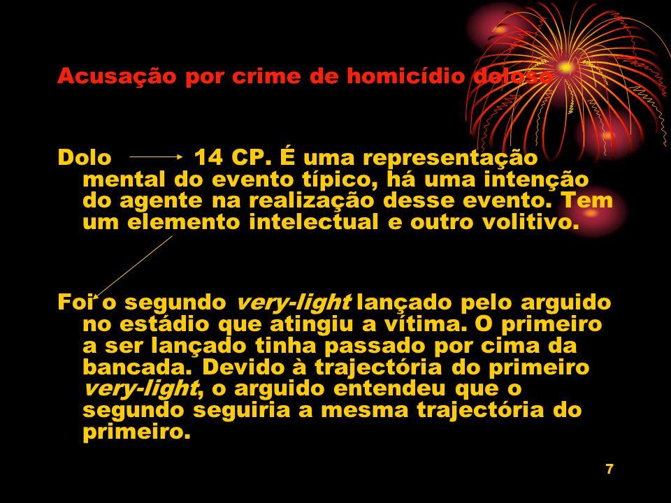 7 Acusação por crime de homicídio doloso Dolo 14 CP. É uma representação mental do evento típico, há uma intenção do agente na realização desse evento