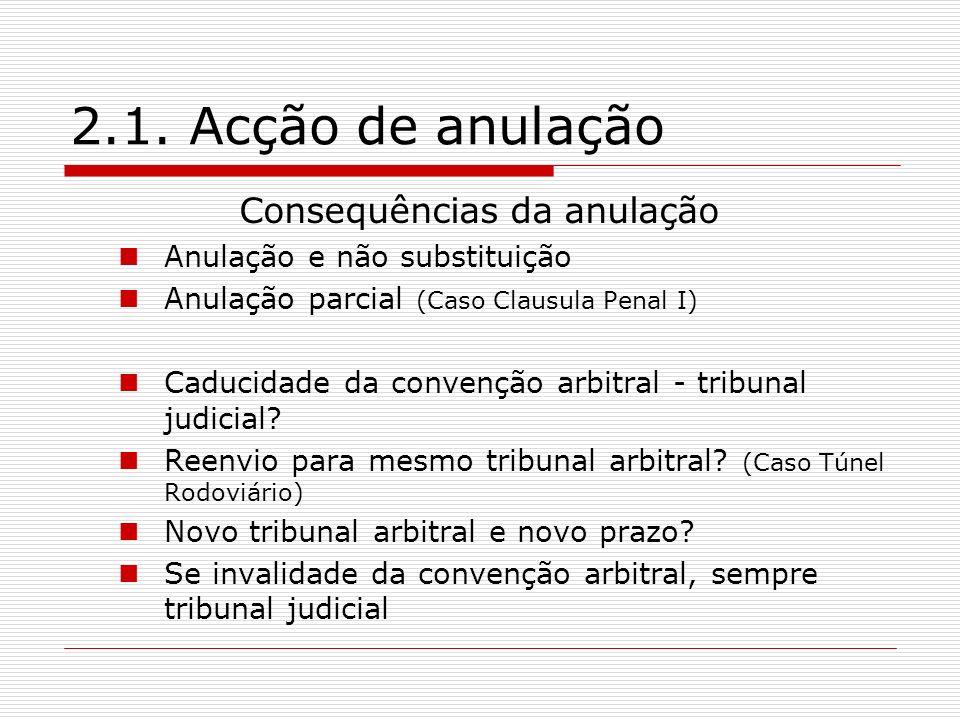 2.1. Acção de anulação Consequências da anulação Anulação e não substituição Anulação parcial (Caso Clausula Penal I) Caducidade da convenção arbitral