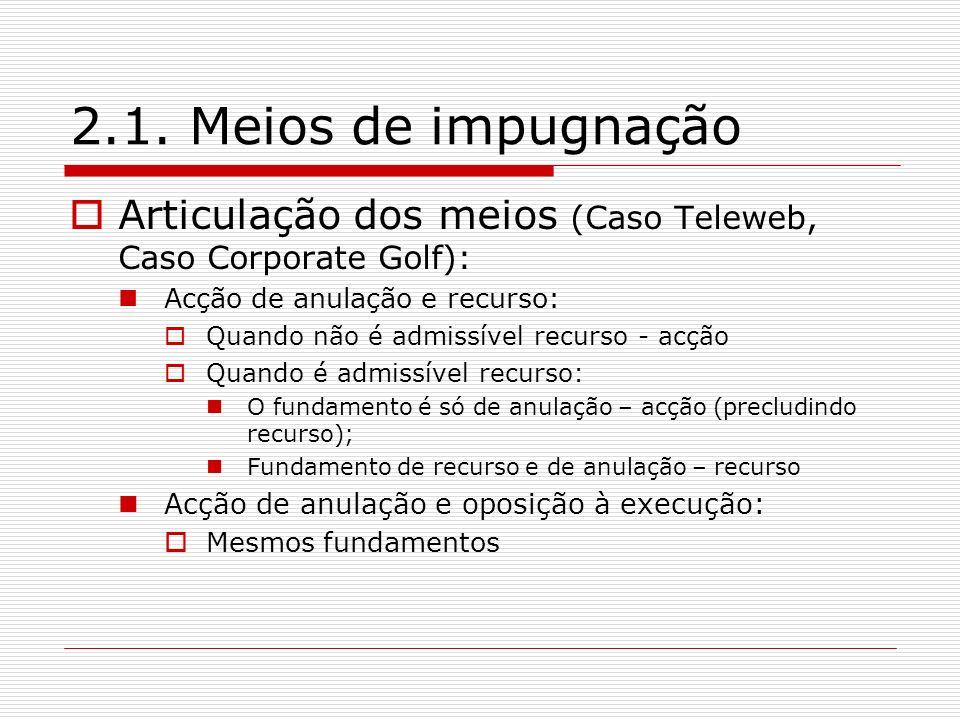 2.1. Meios de impugnação Articulação dos meios (Caso Teleweb, Caso Corporate Golf): Acção de anulação e recurso: Quando não é admissível recurso - acç