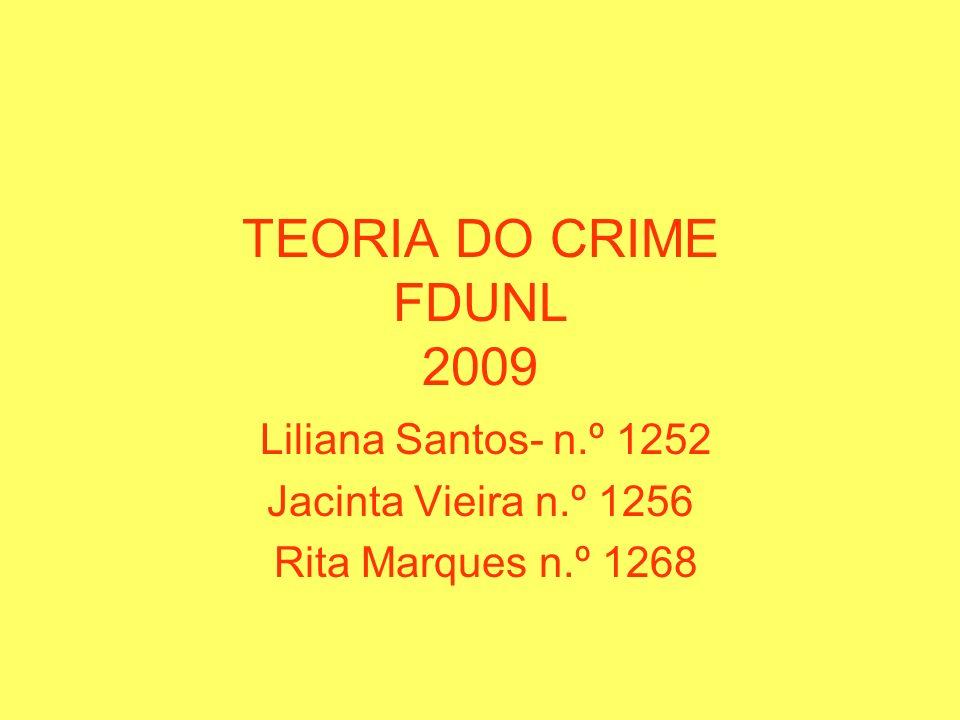 TEORIA DO CRIME FDUNL 2009 Liliana Santos- n.º 1252 Jacinta Vieira n.º 1256 Rita Marques n.º 1268
