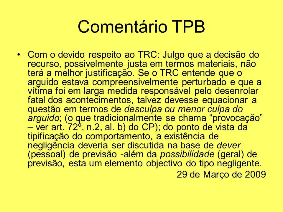 Comentário TPB Com o devido respeito ao TRC: Julgo que a decisão do recurso, possivelmente justa em termos materiais, não terá a melhor justificação.
