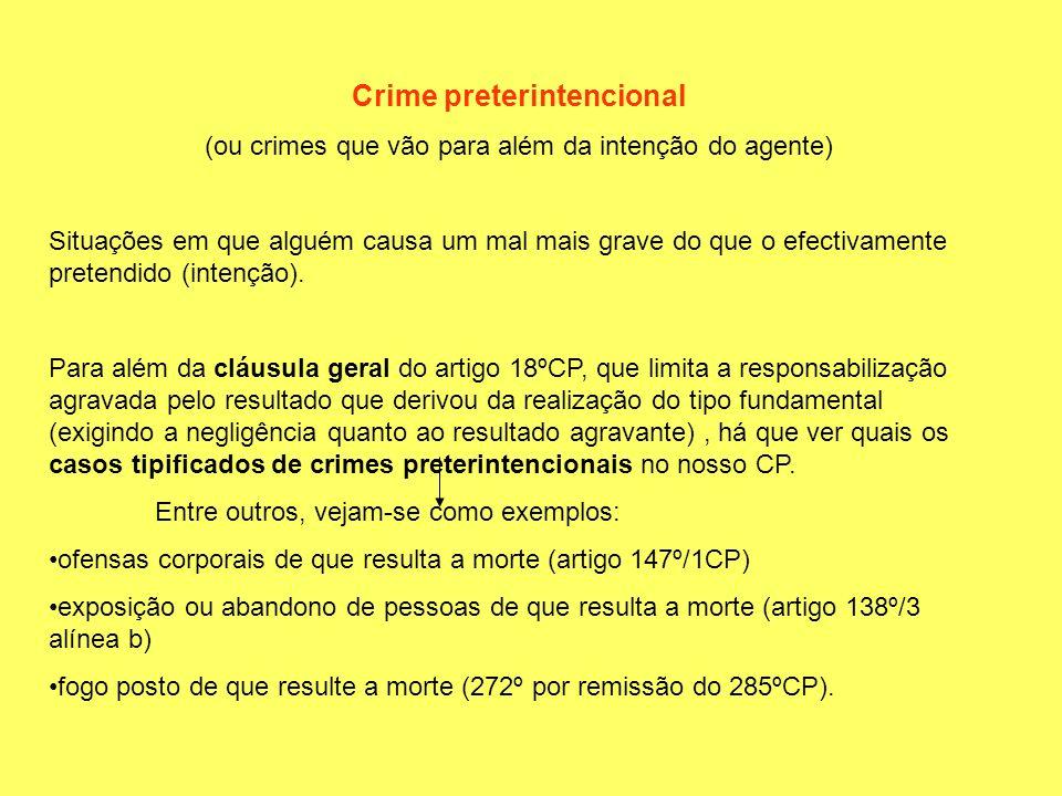 Crime preterintencional (ou crimes que vão para além da intenção do agente) Situações em que alguém causa um mal mais grave do que o efectivamente pre
