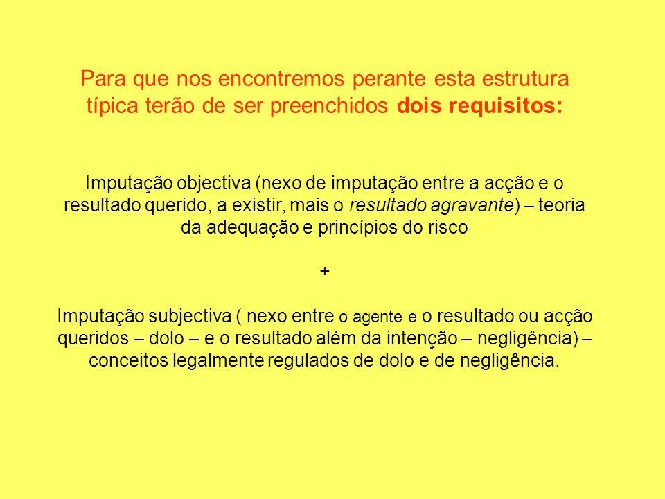 Para que nos encontremos perante esta estrutura típica terão de ser preenchidos dois requisitos: Imputação objectiva (nexo de imputação entre a acção