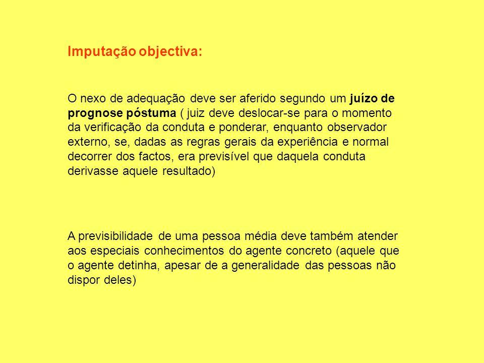Imputação objectiva: O nexo de adequação deve ser aferido segundo um juízo de prognose póstuma ( juiz deve deslocar-se para o momento da verificação d