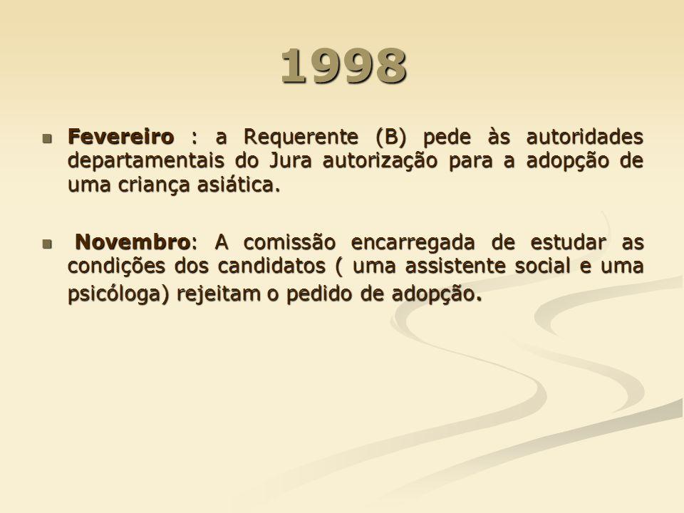 1998 Fevereiro : a Requerente (B) pede às autoridades departamentais do Jura autorização para a adopção de uma criança asiática. Fevereiro : a Requere