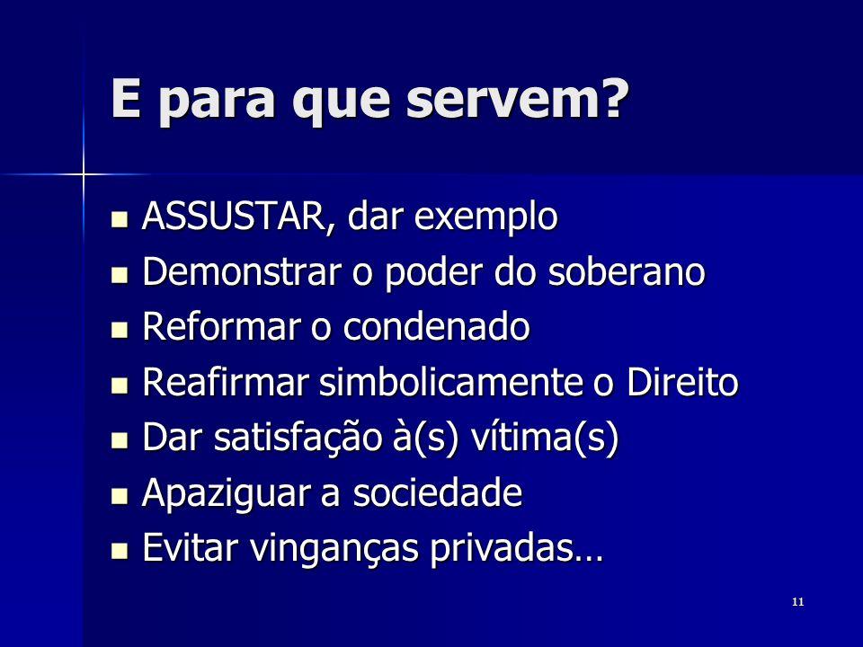 11 E para que servem? ASSUSTAR, dar exemplo ASSUSTAR, dar exemplo Demonstrar o poder do soberano Demonstrar o poder do soberano Reformar o condenado R