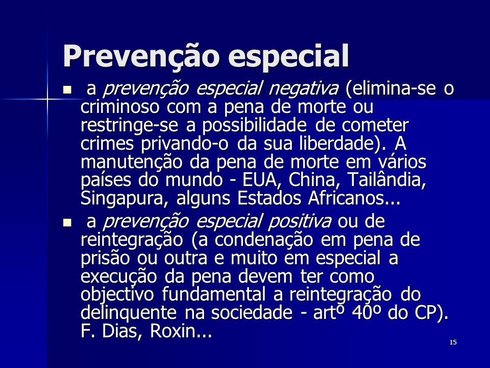 15 Prevenção especial a prevenção especial negativa (elimina-se o criminoso com a pena de morte ou restringe-se a possibilidade de cometer crimes priv