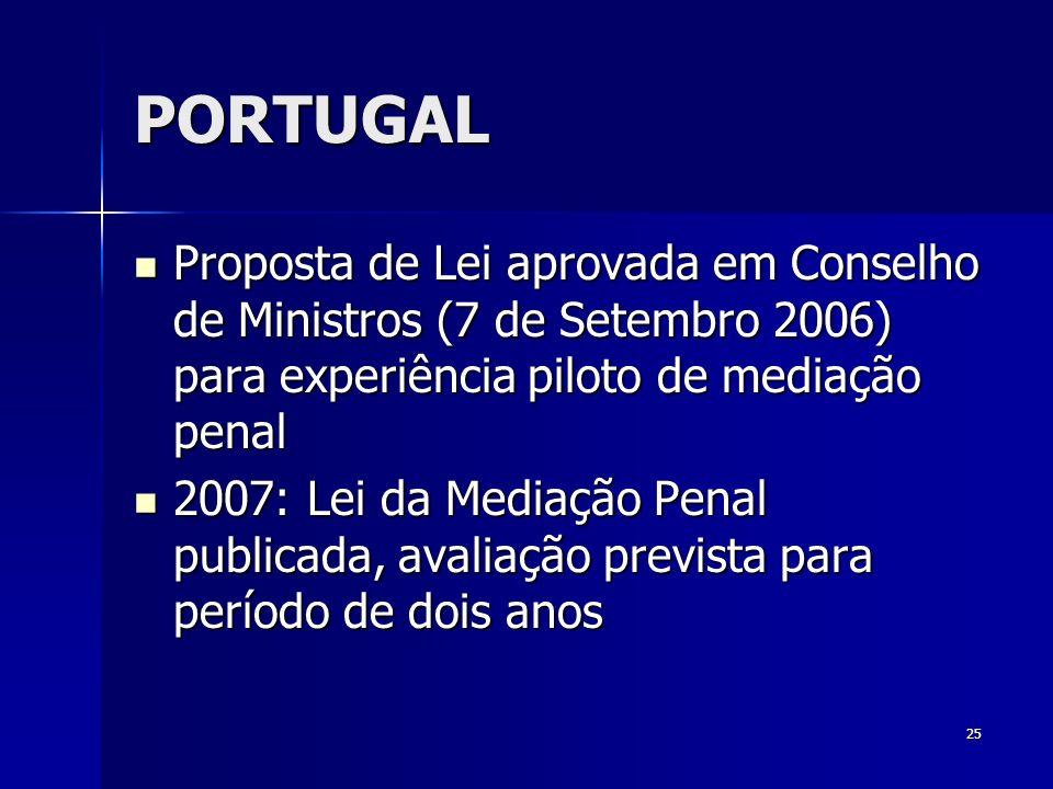25 PORTUGAL Proposta de Lei aprovada em Conselho de Ministros (7 de Setembro 2006) para experiência piloto de mediação penal Proposta de Lei aprovada